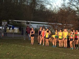 Starting line of Hampshire League Cross Country at Aldershot
