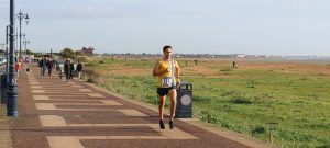 Jez Bragg heads along the prom in the Portsmouth Coastal Marathon