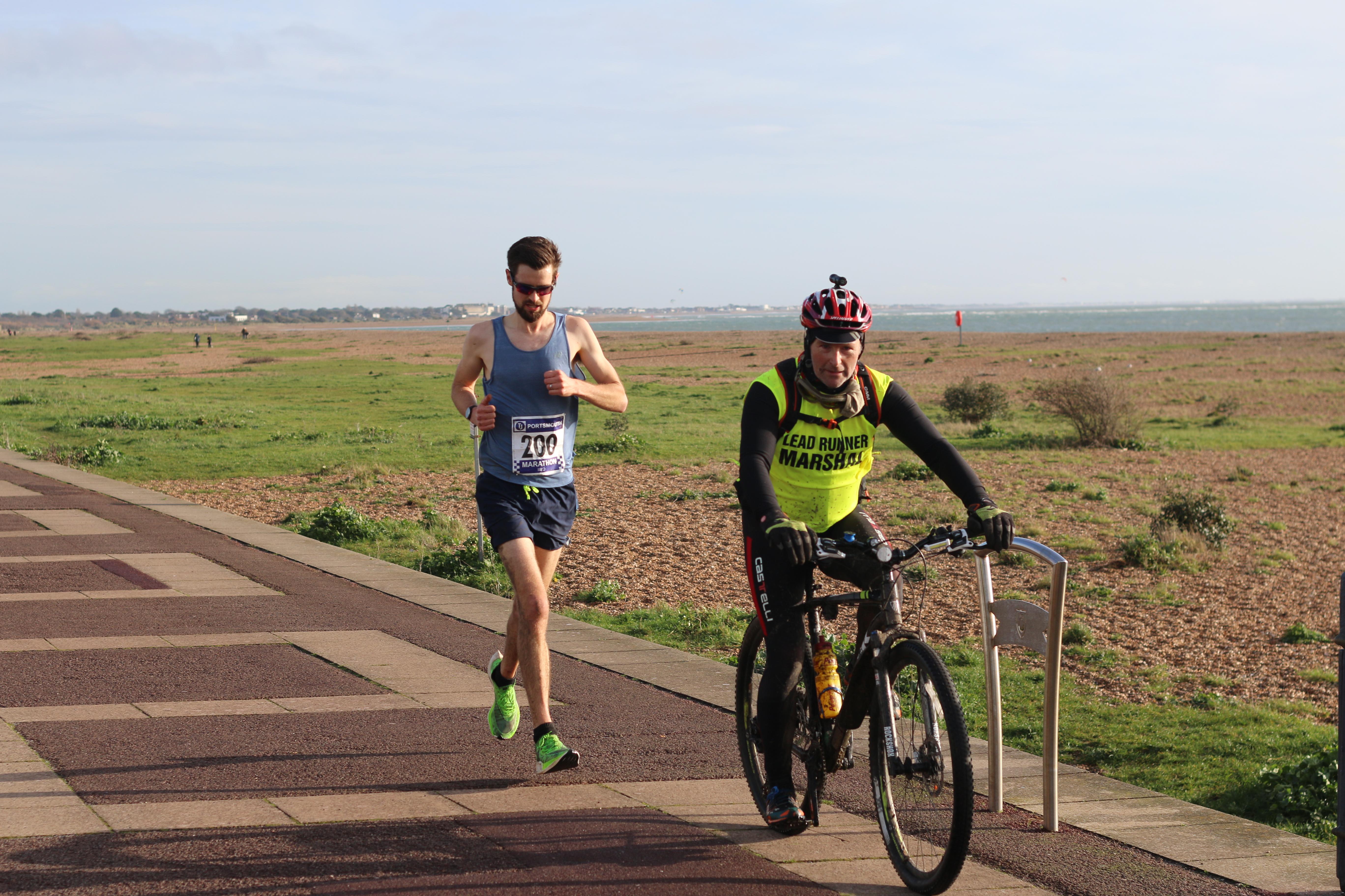 Pete Concannon leading the Portsmouth Coastal Marathon
