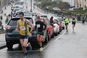 Toby Chapman reaches the top of a testing hill in the Clevedon Boxing Day Race
