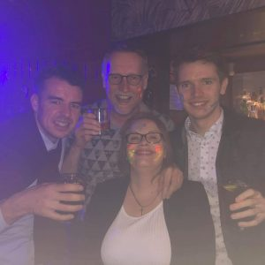 Craig, Roy, Elaine and Dave celebrate in Barcelona