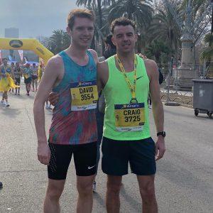 Dave Long and Craig Palmer after completing the Barcelona Half Marathon
