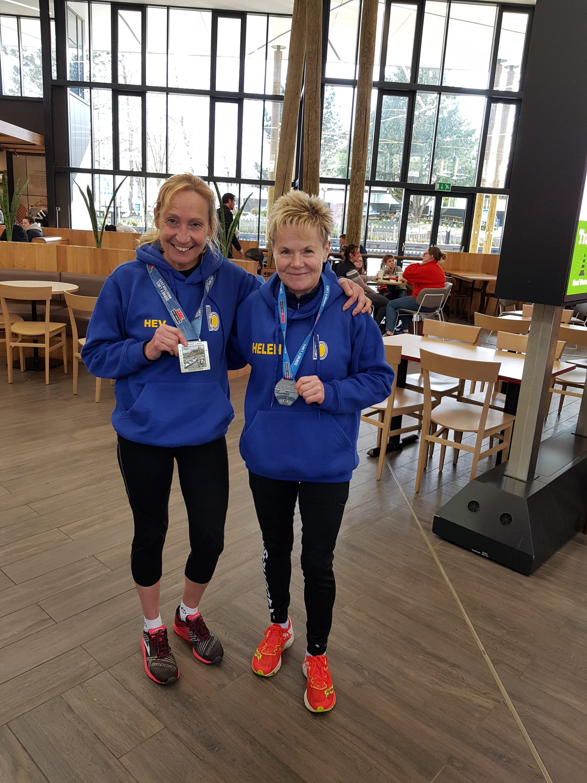 Heather Khoshnevis and Helen Ambrosen after the Dorney Lake Timed Event