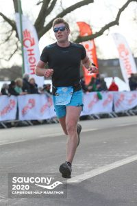 Ollie Stoten making headway in the Cambridge Half Marathon