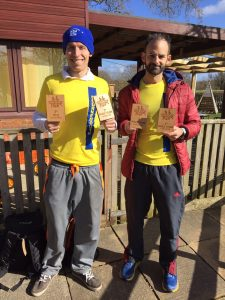 Stu Nicholas and Rich Brawn with team prizes at Wimborne 20