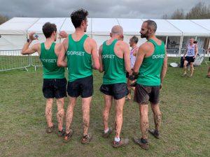 Backs of Senior Men's team at UK Inter Counties XC