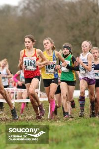 Erin Wells jostling for position in the Under 13 Girls race