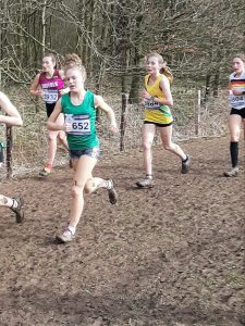 Martha Preece in the Under 15 Girls race at the UK Inter Counties XC