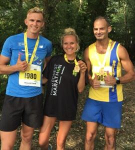 Ed Malcolm, Kirsty O'Callaghan and Rich Brawn after the New Forest Half Marathon