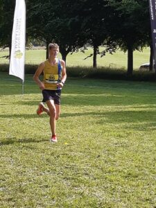 Jasper Todd finishes the New Forest Half Marathon