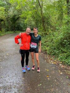 Estelle and Tamzin after she completed her Virtual London run