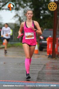 Lauren East does her leg in the Clarendon Marathon Relay