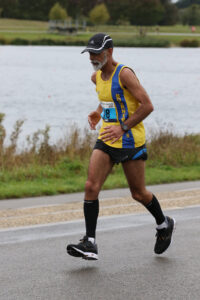 Sanjai Sharma doing his Virtual London Marathon at Dorney Lake