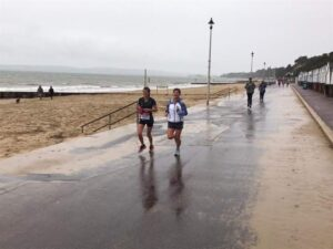 Tamzin and Lou on the prom during Virtual London run