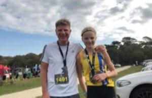 Emily Coltman with her dad Jason after Maverick Jurassic Coast 'Short' race