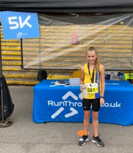 Isabel Cherrett after completing the Newbury Racecourse 5k