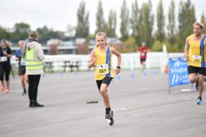 Isabel and Phil Cherrett in the Newbury Racecourse 5k