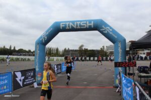 Isabel Cherrett after finishing the Newbury Racecourse 5k