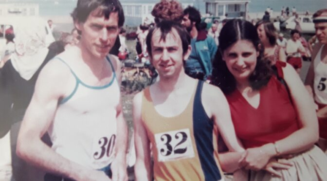 John Hurt, Dave Parsons and his wife Sue before the Isle of Wight Marathon in 1980