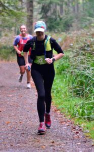 Kirsty heads down the path in the Hellstone Marathon