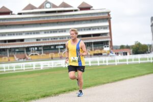 Phil Cherrett works his way round in the Newbury Racecourse 5k