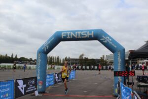 Phil Cherrett finishing the Newbury Racecourse 5k
