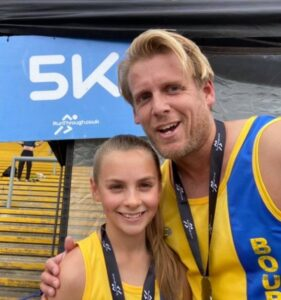 Isabel and Phil Cherrett at the Newbury Racecourse 5k