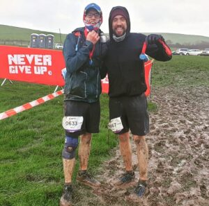 Billy and Pete after completing the Endurance Life Dorset Ultra Marathon