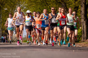 The front of the field in the Speedway 10k