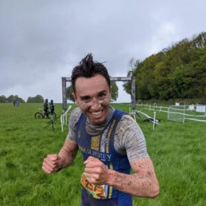Harry celebrates his win at the TrailX Spring Off Road Duathlon