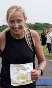 Heather looks happy after completing the race
