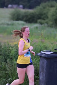 Katrina White working hard in Race 1 of the Upton Summer Series