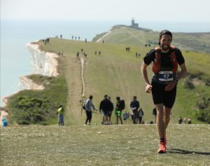 Pete makes his way along the undulating course