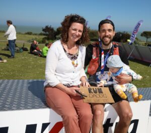 Pete with his family after South Downs Way 100k