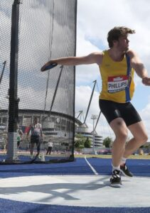 Adam Phillips in the Discus at the British Championships