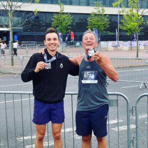 Harry Smith with his dad at the MK Marathon Weekend