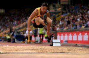 James Lelliott leaps long for the silver medal