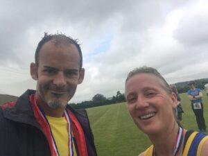 Rich Brawn and Estelle Slatford at the Puddletown Plod Half Marathon