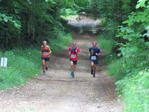 Steve Ross on the right in the Dorset Conquest Half Marathon