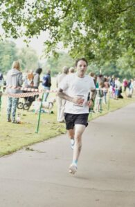 Adam Corbin approaches the finish of the Eastleigh 10k