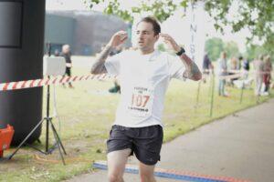 Adam Corbin finishes the Eastleigh 10k
