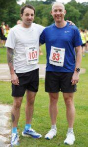 Adam Corbin with Darryl Corbin-Jones at the Eastleigh 10k