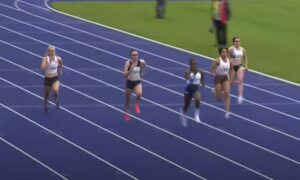 Amelia Verney in the Junior 100m at Manchester International