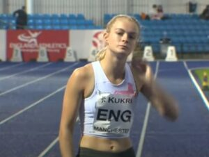 Amelia Verney in the Junior 4 x100m Relay at Manchester International