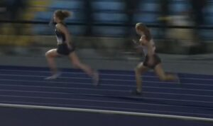 Amelia Verney in action in the Junior 4 x100m Relay