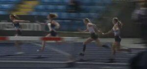 Amelia passes the baton on in the Junior 4 x 100m Relay