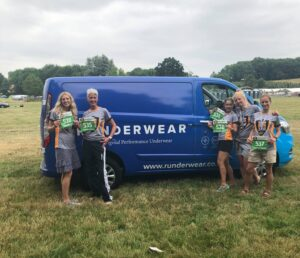Emma and her team with the Runderwear bus