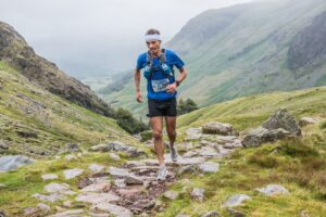 JC makes his way up the rocky trails of Scafell Pike