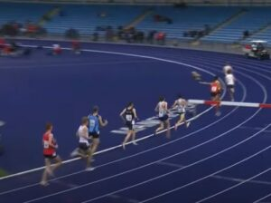 Oliver James in the 3000m Steeple Chase at Manchester International