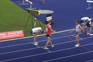 Oliver James after the 3000m Steeple Chase at Manchester International